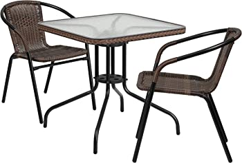 Flash Furniture 28'' Square Glass Metal Table & 2 Rattan Stack Chairs