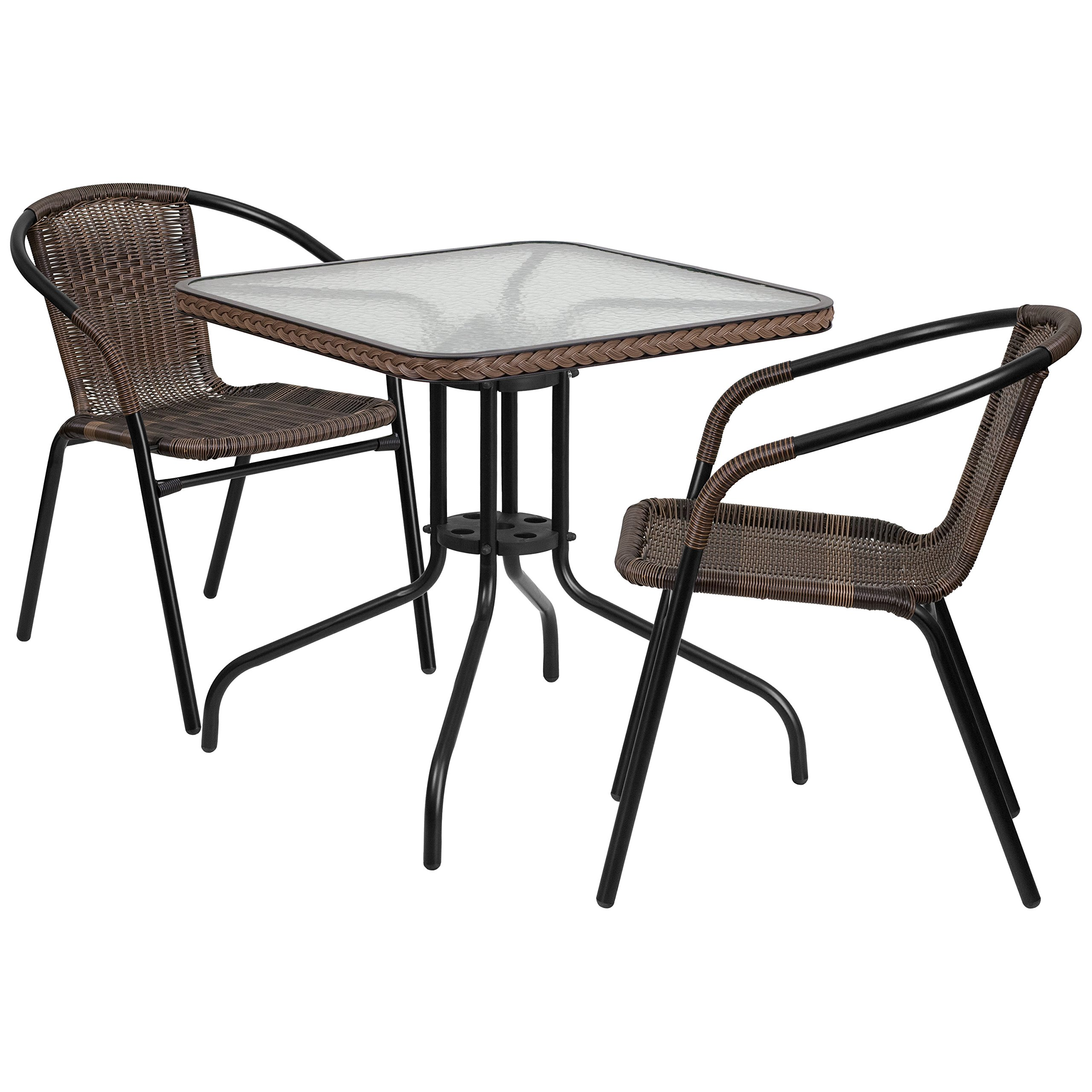 Flash Furniture 28'' Square Glass Metal Table with Dark Brown Rattan Edging and 2 Dark Brown Rattan Stack Chairs