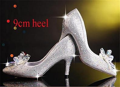 High Heels Cinderella Shoes Women Pumps Pointed Toe Woman Crystal Wedding  Shoes 7cm or 9cm Heel ba613d7267d2