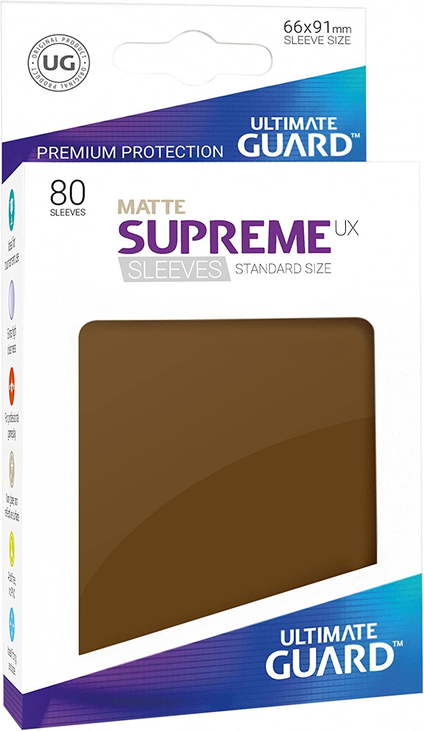 80 Piece Matte Brown Standard Size Ultimate Guard Supreme UX Card Sleeves