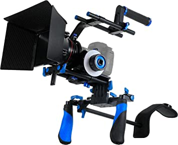 Morros Pro DSLR Rig Movie Kit Shoulder Mount Rig with Follow Focus and Matte Box for All DSLR Cameras and Video Camcorders