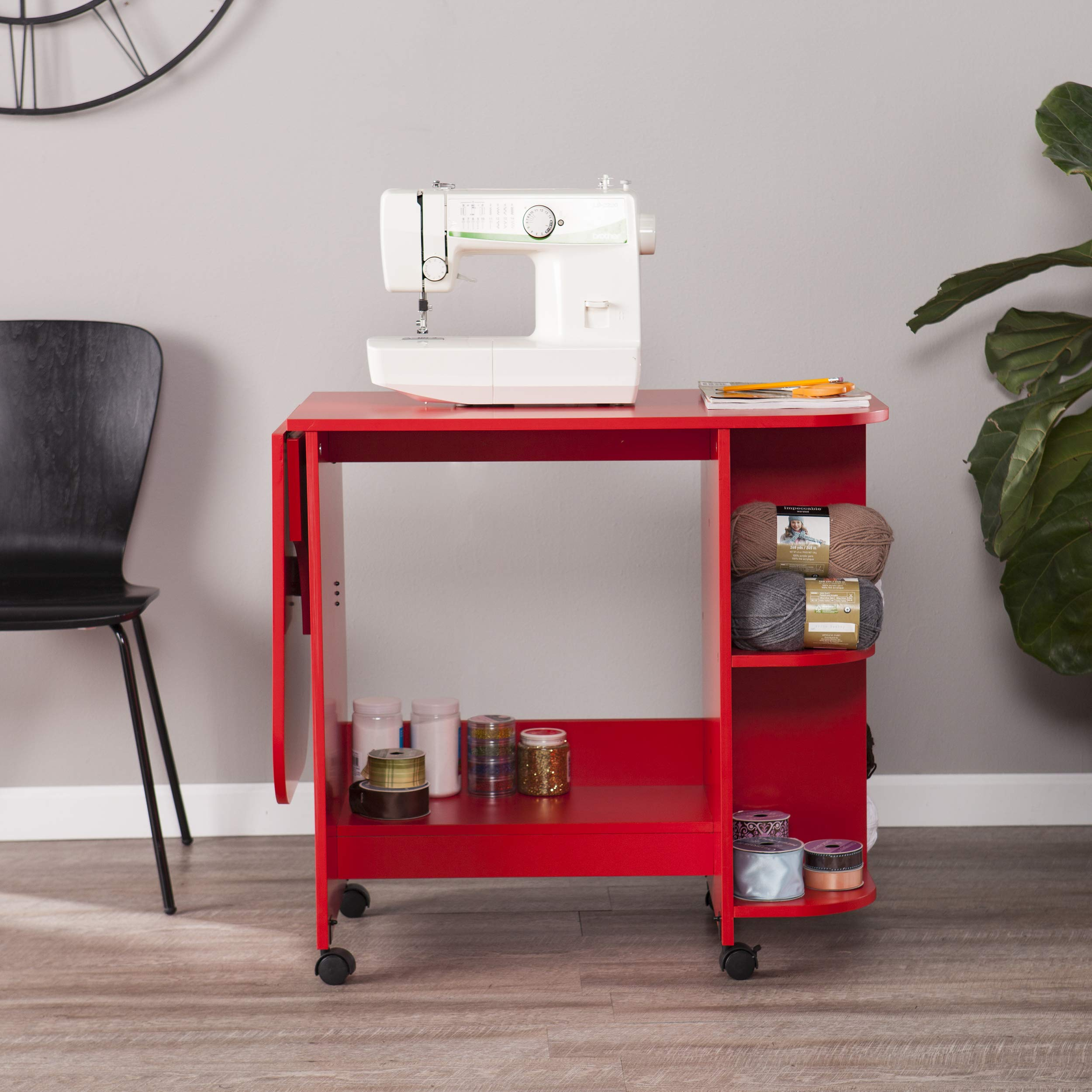 Southern Enterprises AMZ5667ZH Expandable Rolling Sewing Station Craft Table, Red