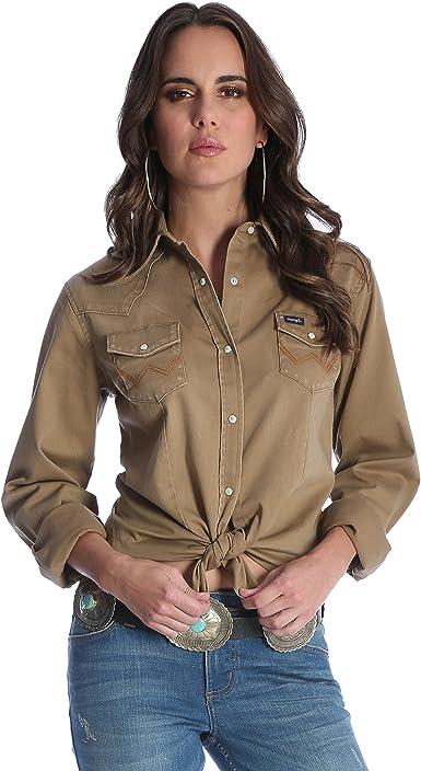 Wrangler Camisa de trabajo de manga larga para mujer