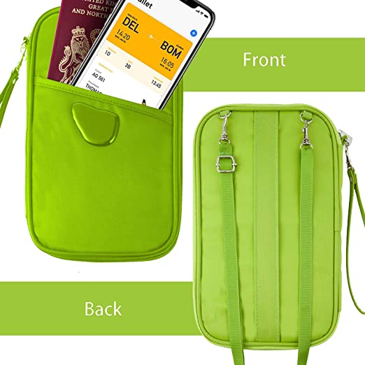 RosaDIY Portefeuille Passeport Green RFID Waterproof Mit Neck/&Wristlet Strap