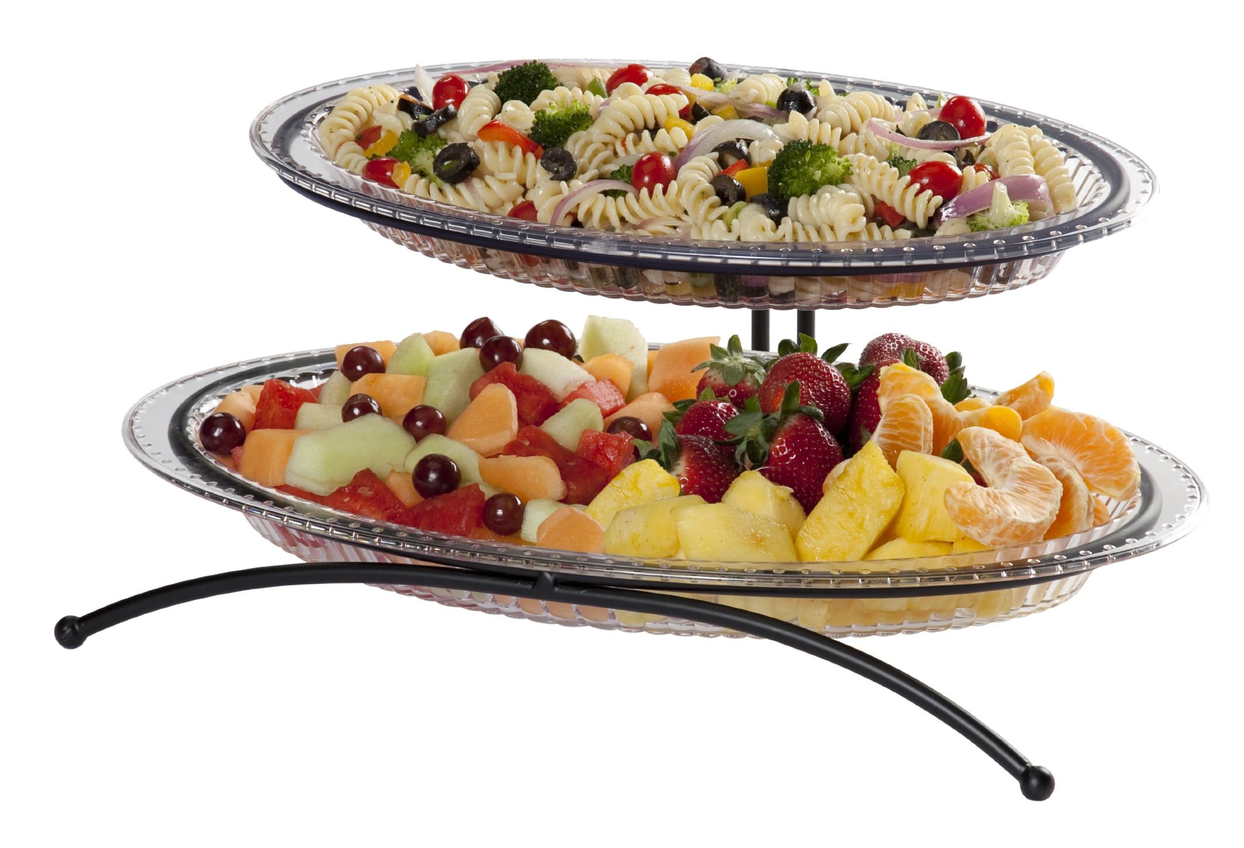 CreativeWare 2-Tier Buffet Server, Includes 1 Small and 1 Larger Platter