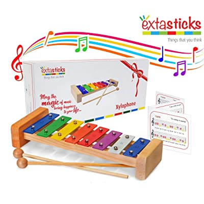Extasticks Xylophone for Kids - Musical Instrument for Toddlers - Wooden Music Toy for Baby Girls and Boys + Song Book & Mesh Bag for Children: Toys & Games [5Bkhe1803250]