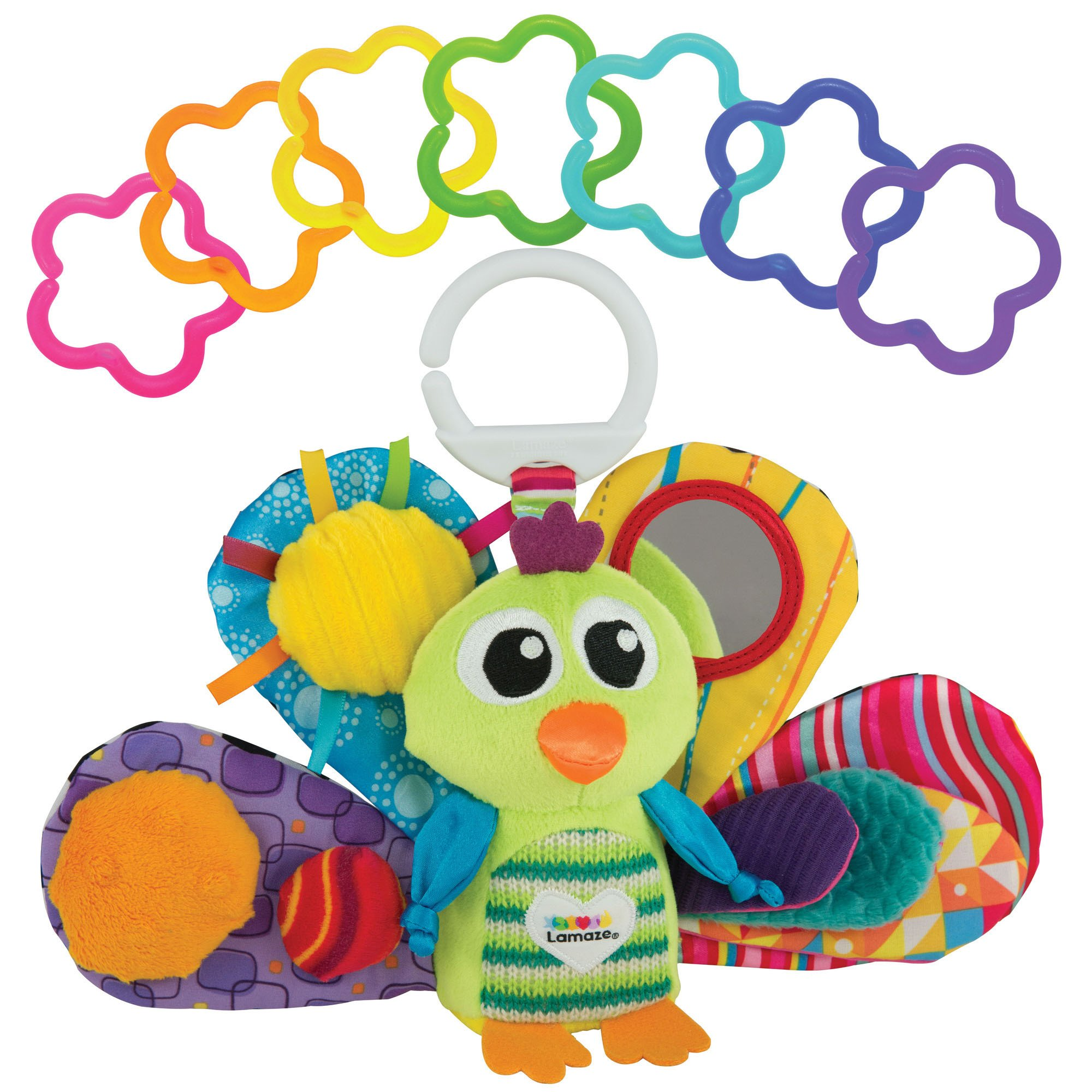 LAMAZE - Jacque The Peacock Gift Set, Support Baby's Development with Bright Colors, Fun Textures, and a Self-Discovery Mirror, Clips to Carriers, Strollers and Diaper Bags, 0 Months and Older