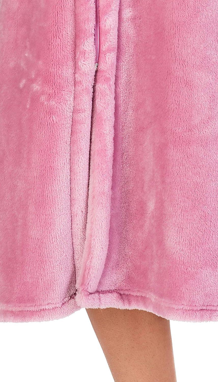 Slenderella Signore Spessa Morbida Morbida Pile Colletto E Zip Accappatoio Accappatoio Abito da casa Taglia Piccola Medio Grande XL e XXL