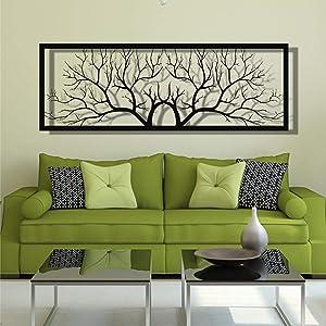 "DEKADRON Metal Wall Decor, Metal Tree Wall Art, Metal Branch Wall Decoration, Home Living Room Wall Art (79"" W x 27"" H / 200x70cm)"