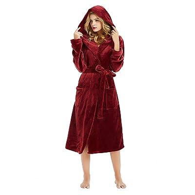 M&M Mymoon Womens Hooded Fleece Robe, Soft Plush Bathrobe for Womens, Fluffy Cute Long House Coat at Women's Clothing store