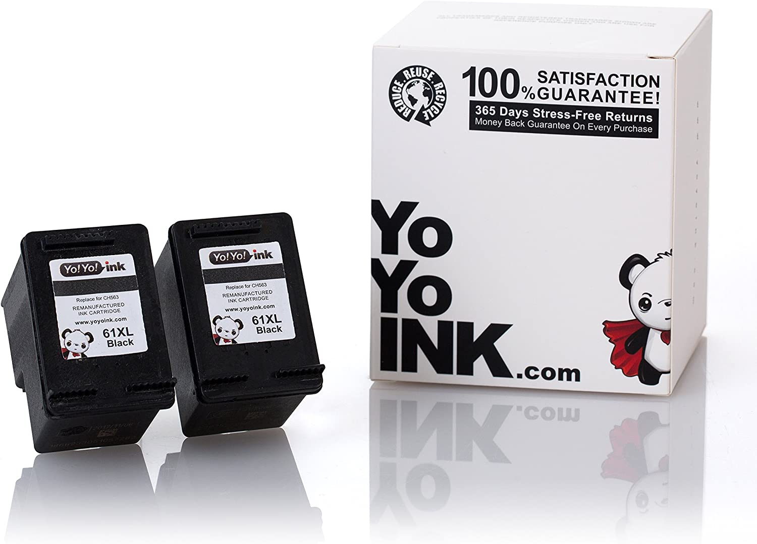 YoYoInk Remanufactured Ink Cartridge Replacement for HP 61 61XL High Yield (2 Black)