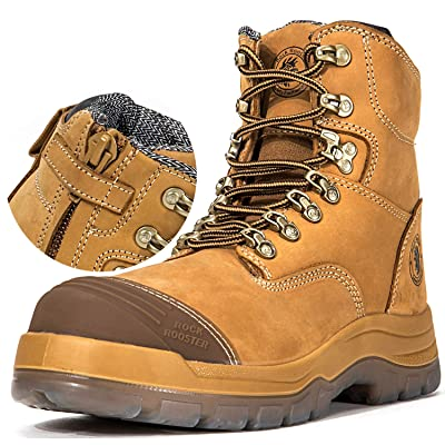 ROCKROOSTER Work Boots for Men, YKK Zipper, Steel Toe, Static Dissipative, Coolmax, Poron XRD, Safety Leather Shoes (AK232Z 10.5) | Industrial & Construction Boots