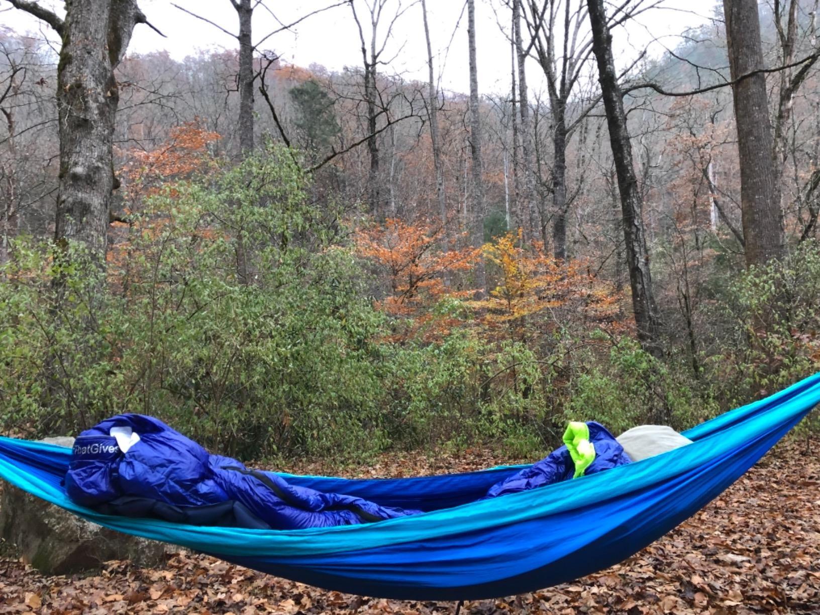 Hyke & Byke Hammock Underquilt/Down Sleeping Bag-Sleeping outside at 28 degrees- so cozy so freaking great