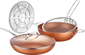AMERICOOK 5 Piece, 12-Inch Copper Nonstick Deep Pan, Chip Fryer Pan with Stainless Steel Basket Steamer Rack and Glass Lid, Induction Deep Fat Fryer for Oven, Roast, Bake, Grill, Steam, Oven Safe