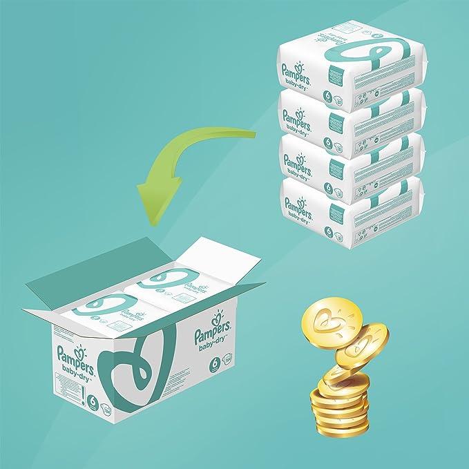 Pampers Baby Dry - Pañales para bebés, Talla 6 (15+kg), 124 unidades: Amazon.es: Salud y cuidado personal
