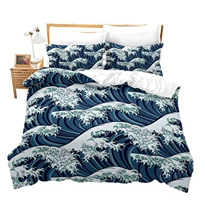 Erosebridal Wave Duvet Cover Set Full Size Ocean Decor Comforter Cover Set Japanese Style Bedding Set for Adult Teens Kids Girls Soft Simple 3 Pieces Duvet Cover Set with Zipper Ties, No Comforter: Home & Kitchen