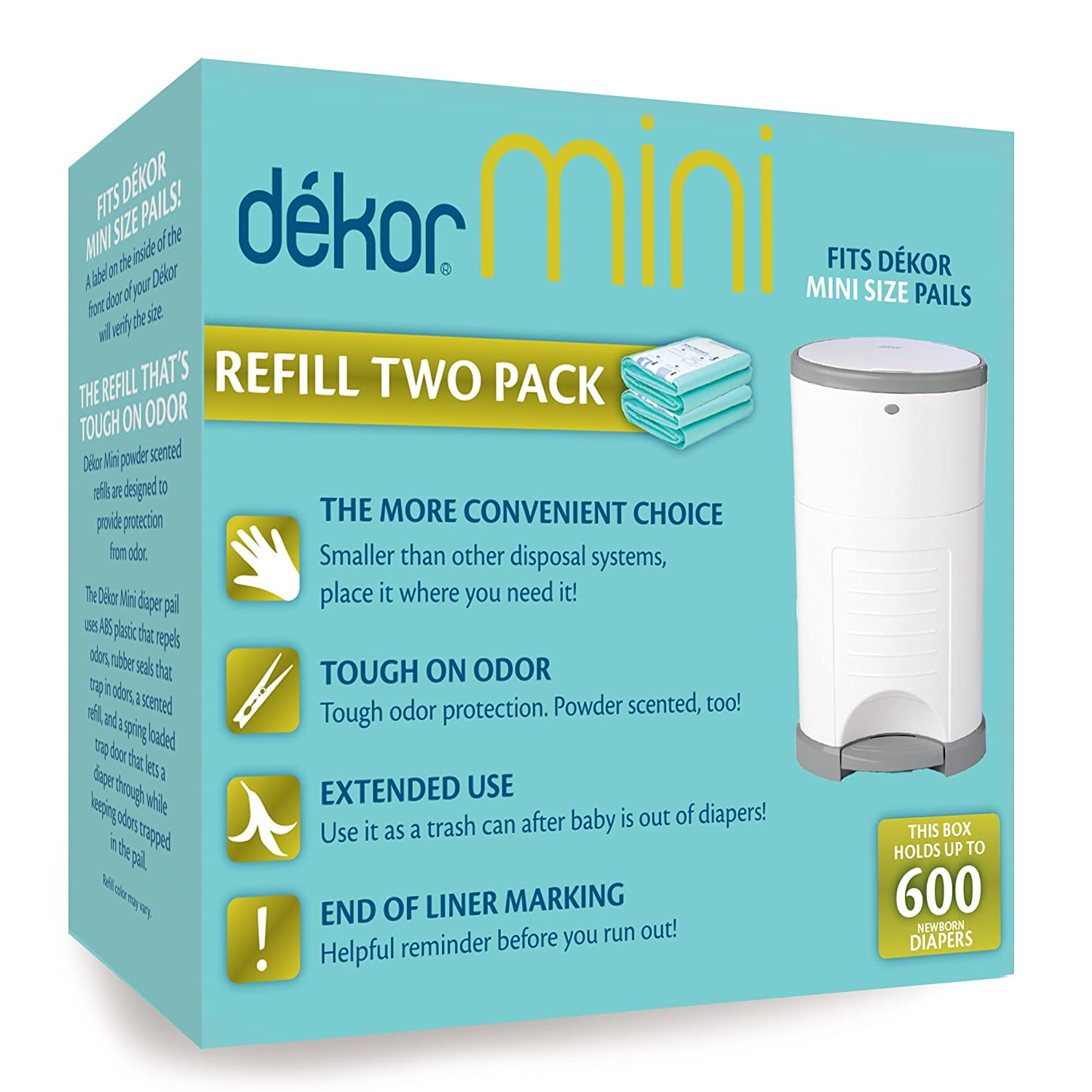 Dekor Mini Diaper Pail Refills | 2 Count | Most Economical Refill System | Quick & Easy to Replace | No Preset Bag Size – Use Only What You Need | Exclusive End-of-Liner Marking | Baby Powder Scent