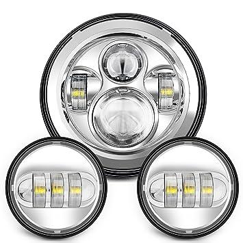"""7/"""" Chrome Motorbike LED Headlight 4-1//2/"""" Fog Light Passing Lamp For Harley"""