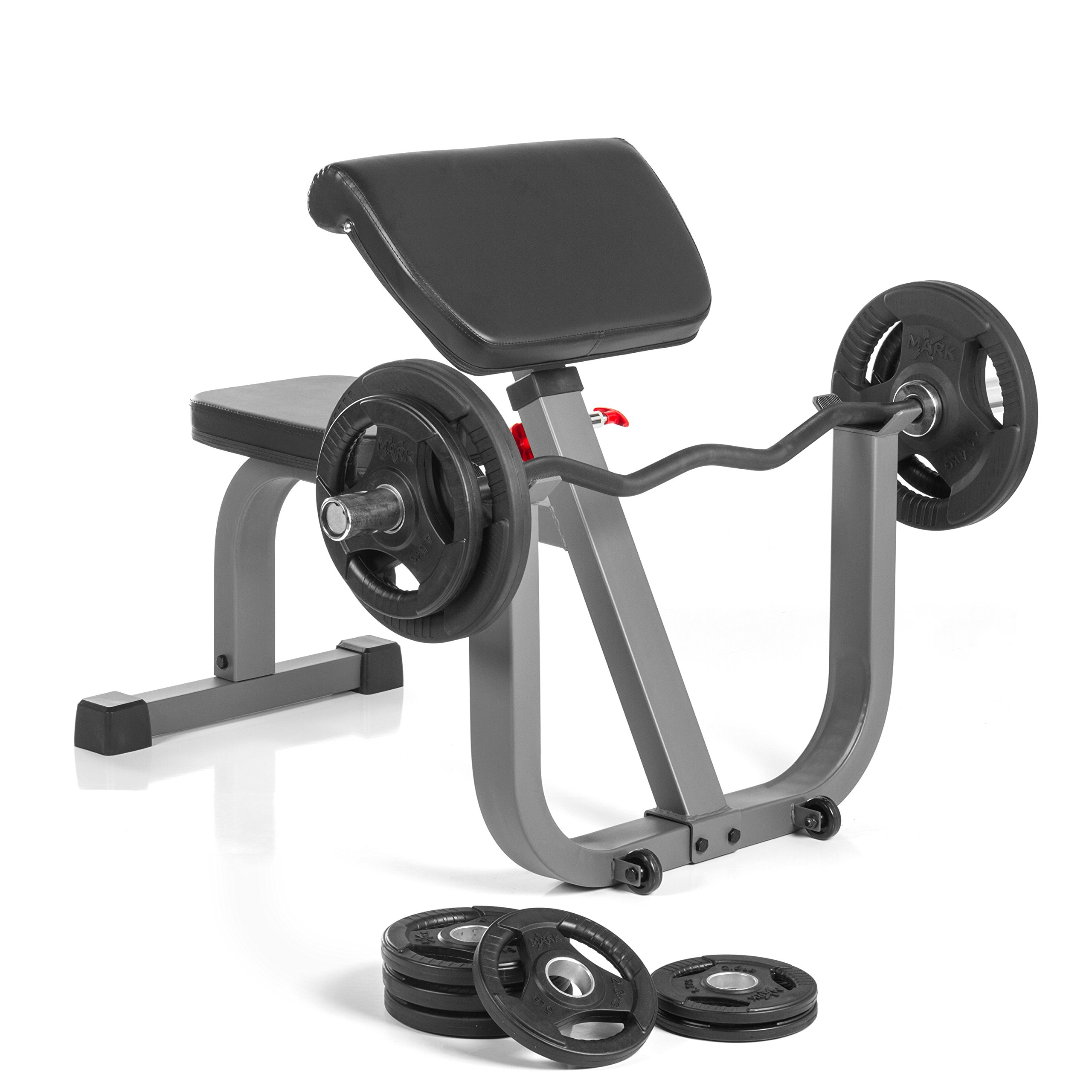 XMark ARMageddon Preacher Curl Package includes Plate Weights, Curl Bar, and Seated Preacher Curl Adjustable Bench.