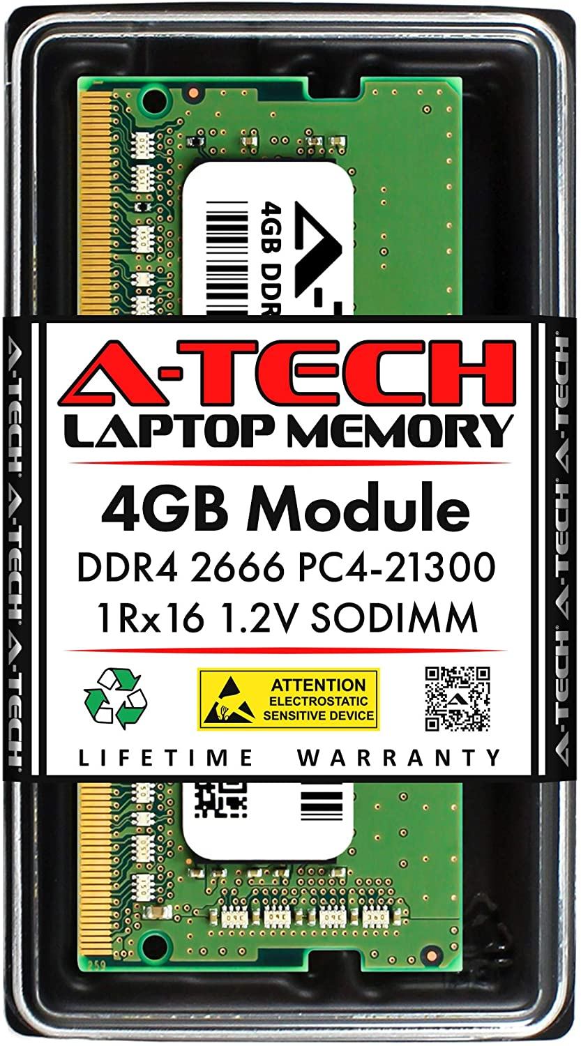 A-Tech 4GB Memory RAM for Dell OptiPlex 3050 AIO - DDR4 2666MHz PC4-21300 Non ECC SO-DIMM 1Rx16 1.2V - Single Laptop & Notebook Upgrade Module (Replacement for AA086413)