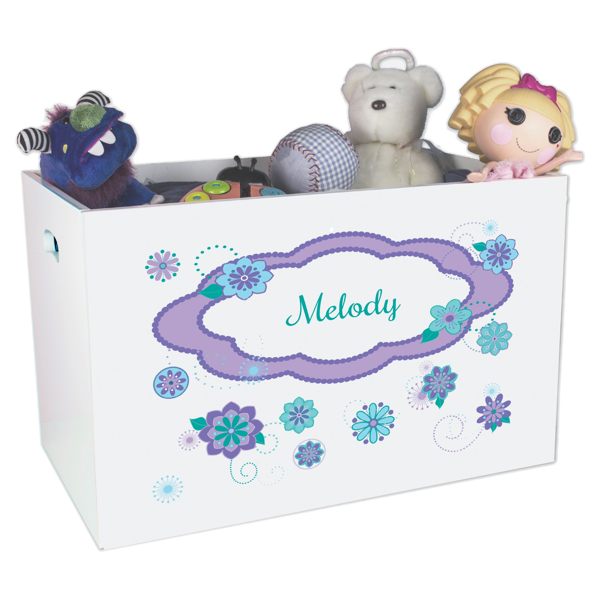 Personalized Florascope Childrens Nursery White Open Toy Box