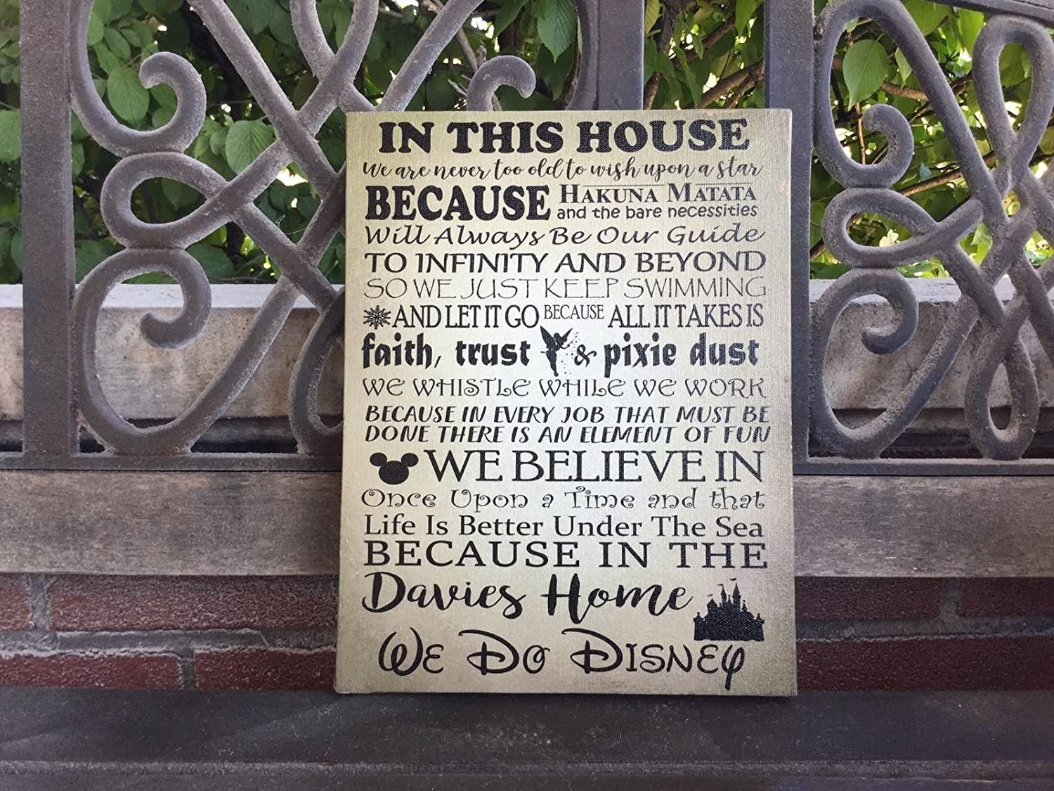Disney Themed House Rules, Cristmas Gift, Custom Canvas, We Do Disney, Personalize With Family Name