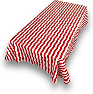 """Carnation Home Fashions DFLN-70/BS/14 Bold Stripe Vinyl Flannel Backed Tablecloth, 52"""" x 70"""", Red"""