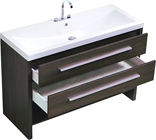 Luxo Marbre RELAX V48 A Relax Vanity with Synthetic Marble Sink, Alamo Oak