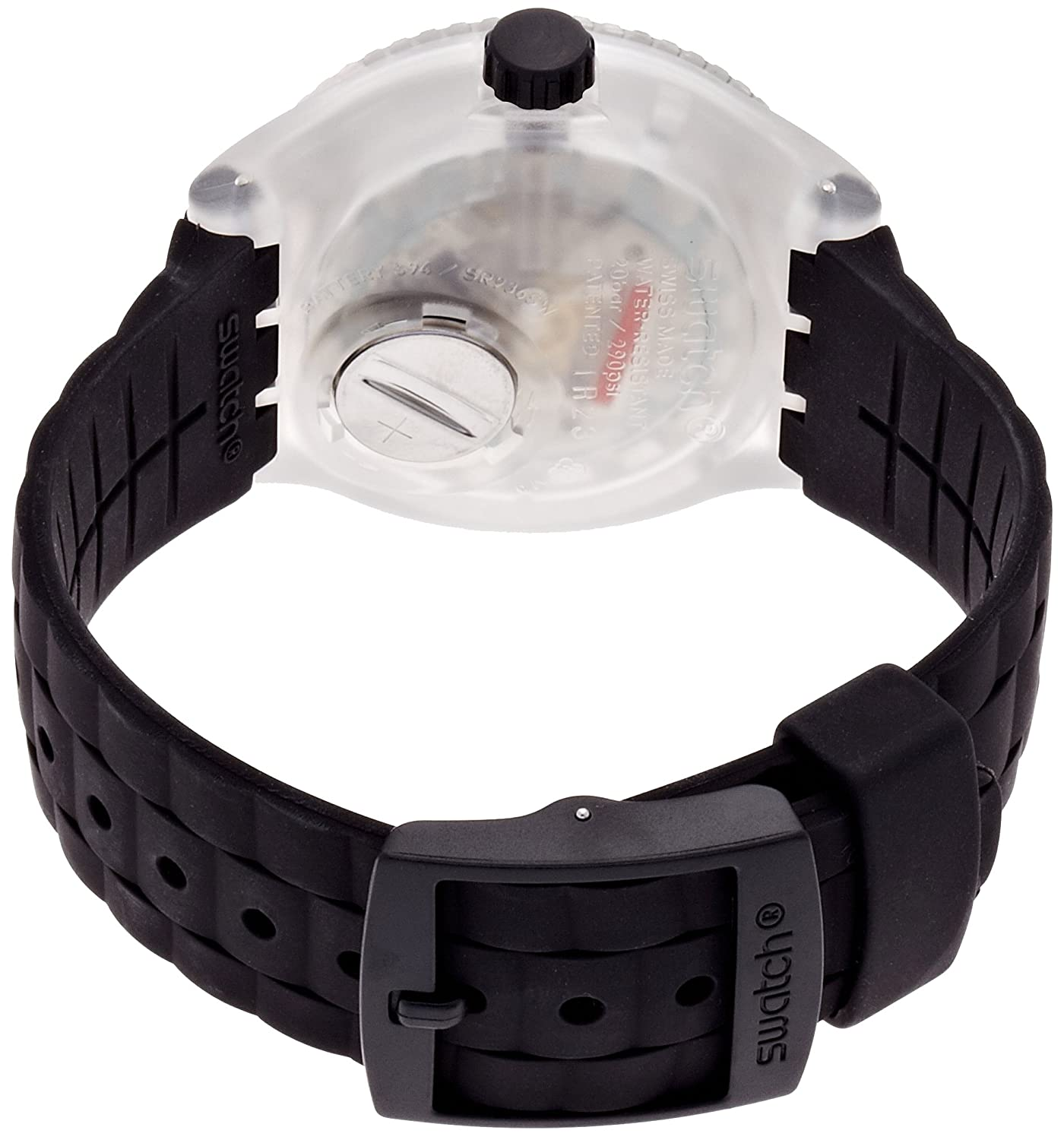 Amazon.com: Swatch Scuba Stormy Black Dial Black Silicone Rubber Unisex Watch SUUK400: Swatch: Watches
