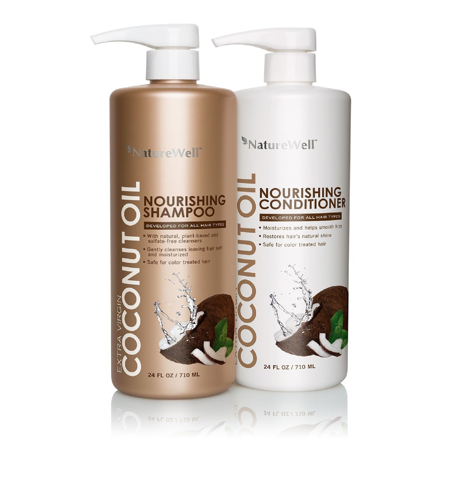 NatureWell Extra Virgin Coconut Oil Nourishing Shampoo and Conditioner Set (24 fl oz each)