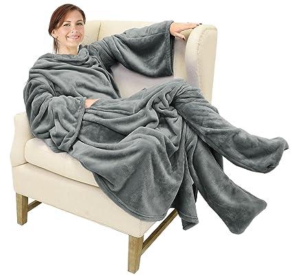 Amazoncom Catalonia Wearable Fleece Blanket With Sleeves And Foot