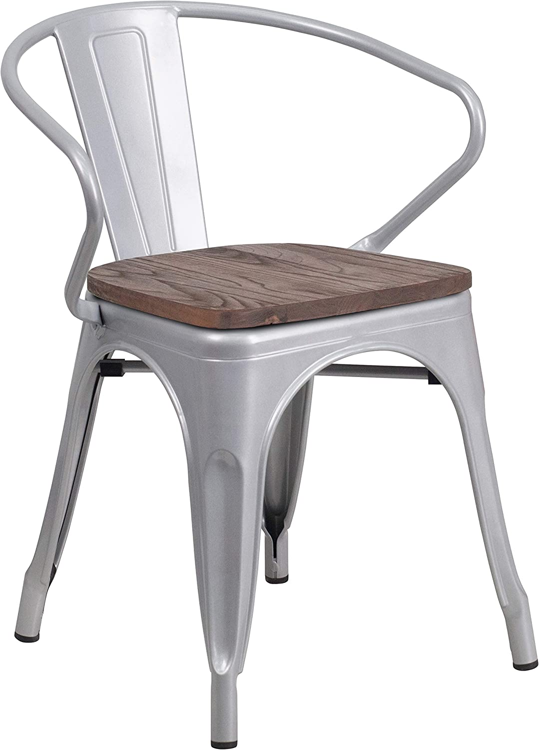 Flash Furniture Silver Metal Chair with Wood Seat and Arms