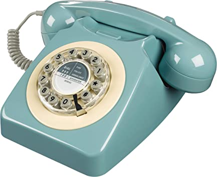 Classic British Retro 60/'s Vintage Style Landline Phone French Blue Home//Office