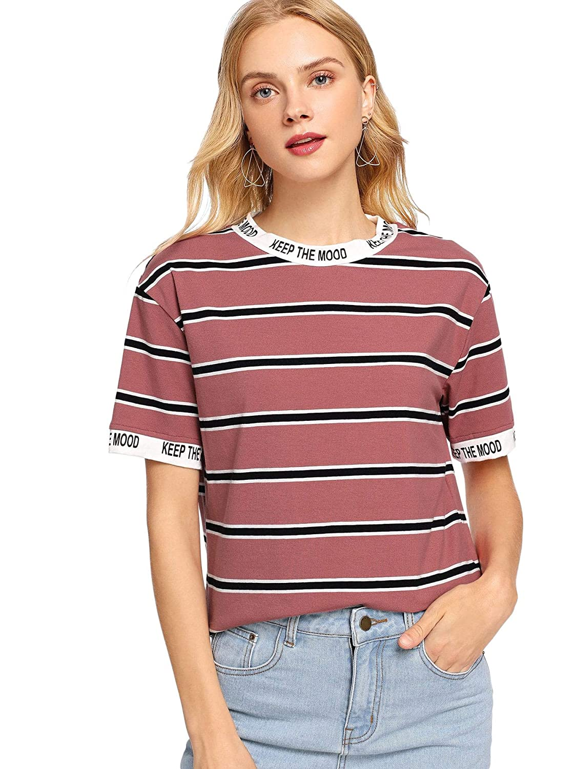 BrickRed Verdusa Women's Graphic Letter Printed color Block Stripe TShirt Casual Tee
