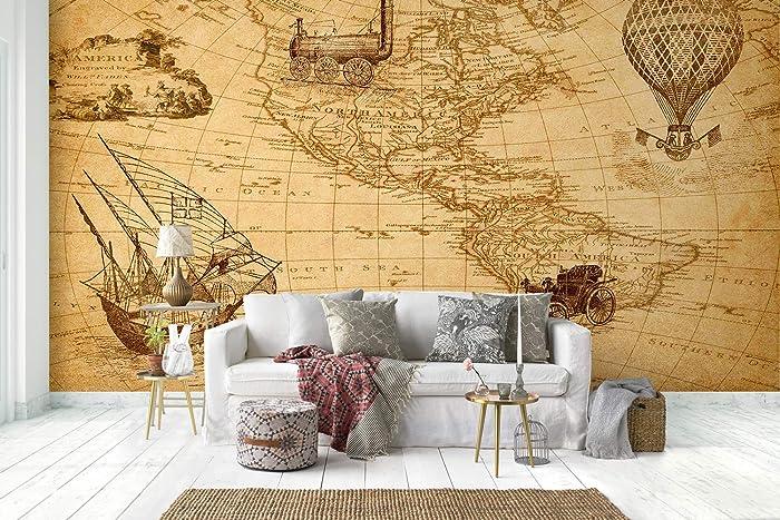 Amazon.com: Murwall Map Wallpaper Old Hot Air Balloon Wall ...