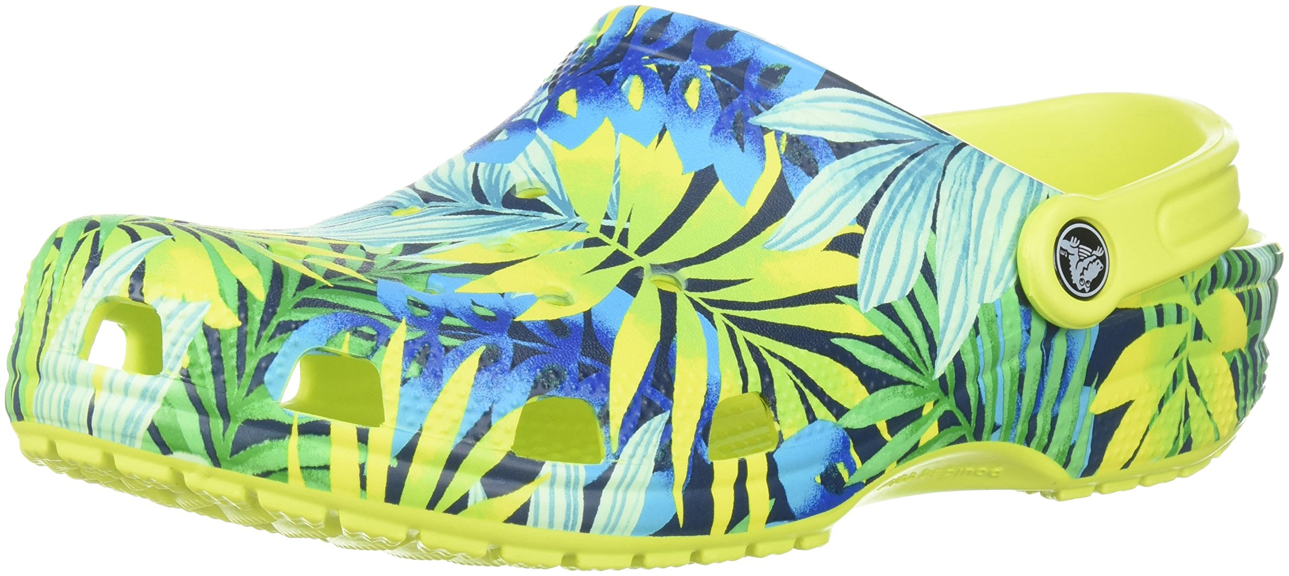 Crocs Unisex Classic Printed Clog Mule, Tennis Ball Green/Cerulean Blue, 4 US Men/6 US Women by Crocs
