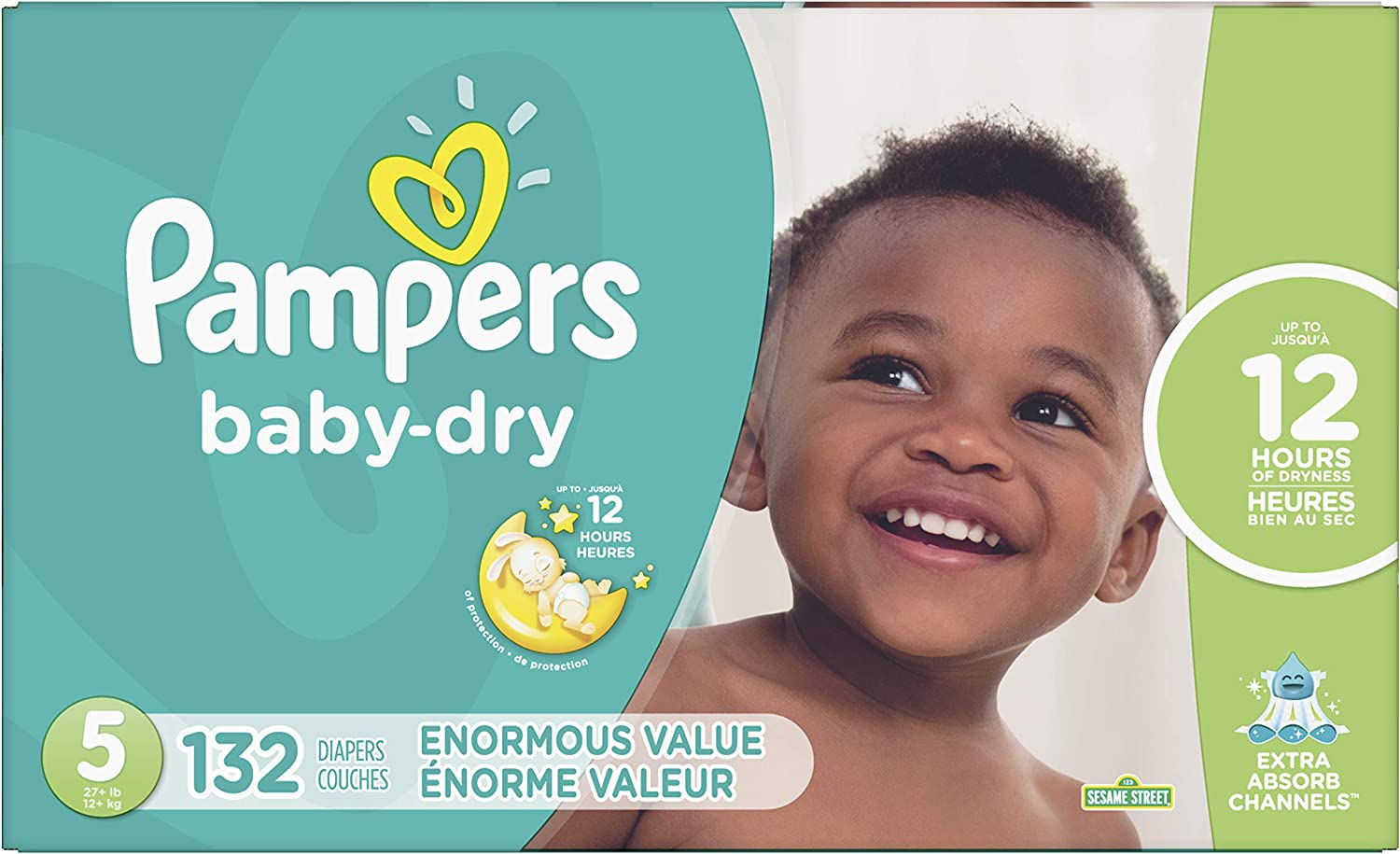 Diapers Size 5, 132 Count - Pampers Baby Dry Disposable Baby Diapers, Enormous Pack