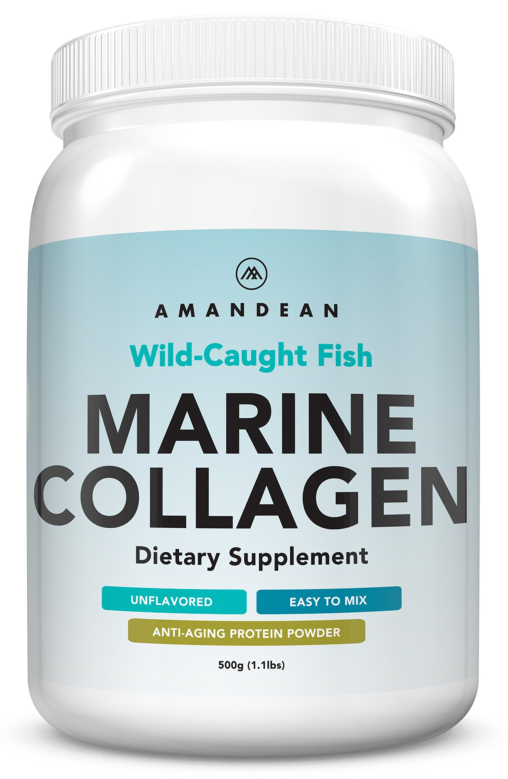 Premium Anti-Aging Marine Collagen Powder 17.6 Oz | Wild-Caught Hydrolyzed Fish Collagen Peptides | Type 1 & 3 Collagen Protein Supplement | Amino Acids for Skin, Hair, Nails | Paleo Friendly, Non-GMO by AMANDEAN