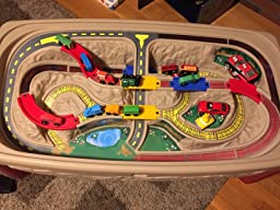customer reviews step2 deluxe canyon road train track table. Black Bedroom Furniture Sets. Home Design Ideas