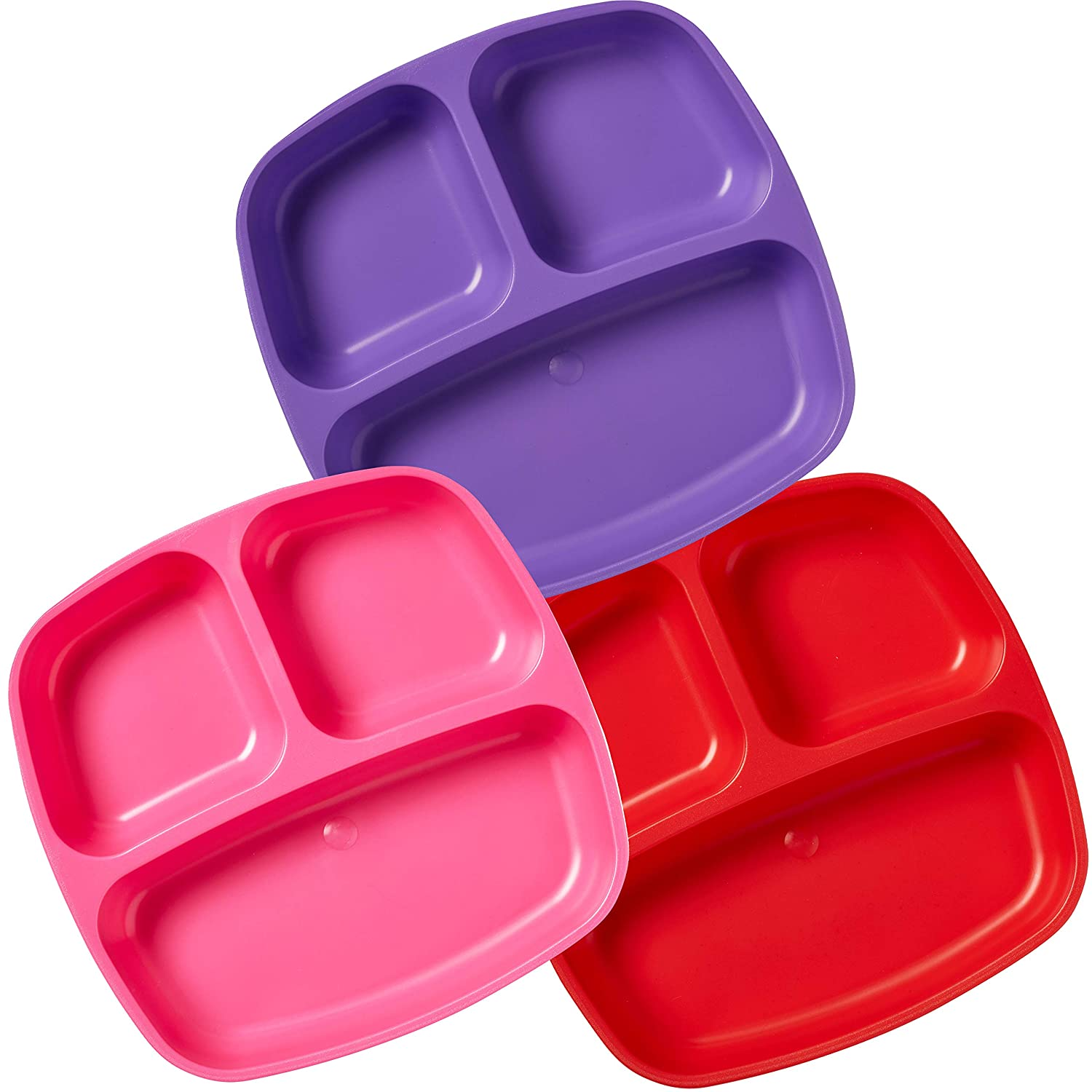 ECR4Kids My First Meal Pal Divided Toddler Plates – Stackable, BPA-Free Plastic Dishes, Dishwasher Safe, Portion Plate Set for Baby, Toddler and Child Feeding - 3-Pack, Berry