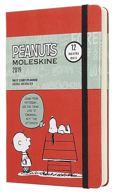 Moleskine DPE12DC3Y19 - Diario 12m de edición limitada Peanuts, grande, color rojo