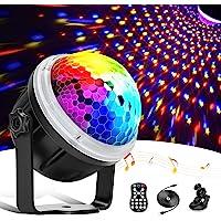 DeTake Luces Discoteca Bola de Discoteca Activadas por Música con 11 Colores RGBY, Patrón de Estrella, Control Remoto…