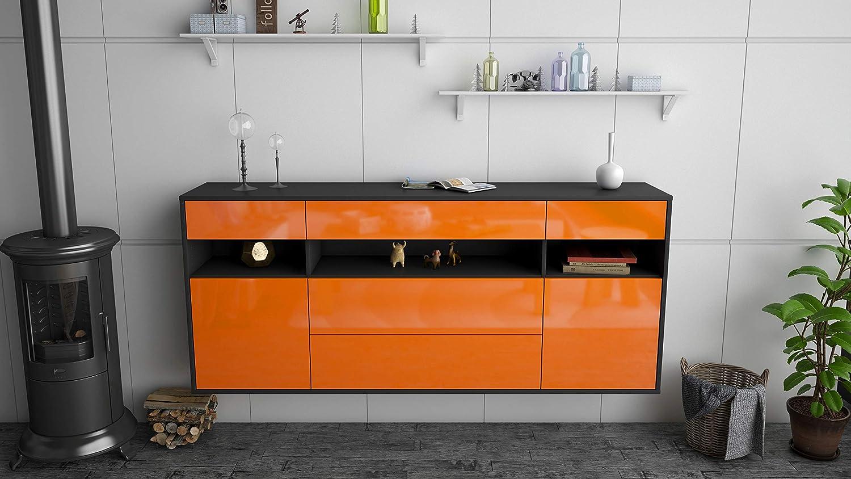 180x77x35cm Dekati Sideboard Inglewood h/ängend Leichtlaufschienen Push-to-Open Front Hochglanz Orange Korpus anthrazit matt
