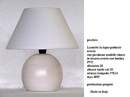 Lampada lumetto abat jour da comodino sfera in legno tornito con