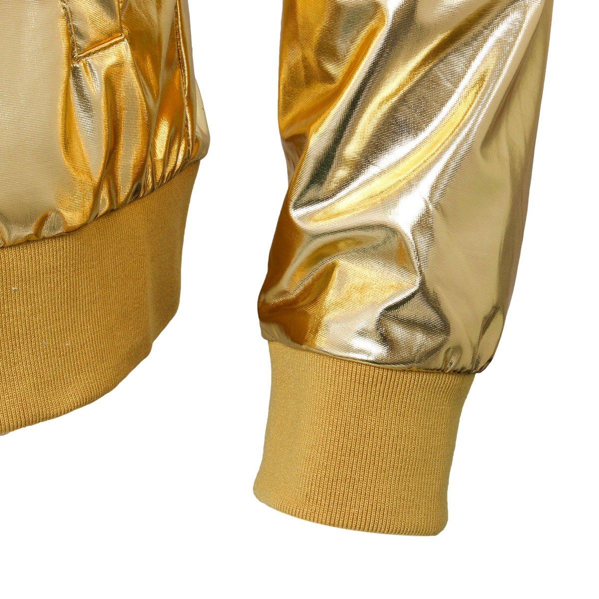 Jila Mens Metallic Nightclub Baseball Varsity Bomber Jacket Shiny Slim Zip Up Costume Suit