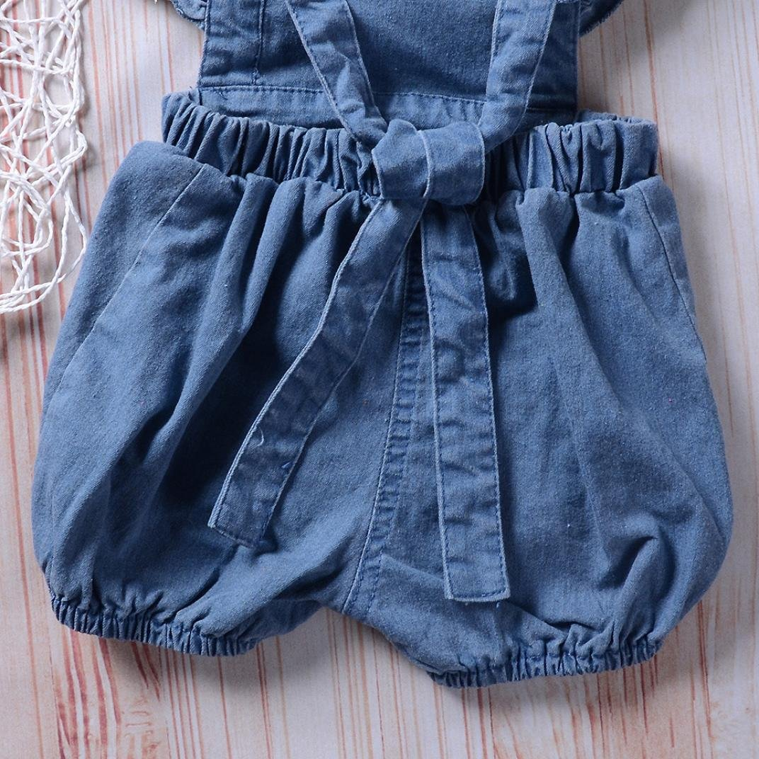 PEANTA Toddler Baby Girl Denim Jumpsuit Sleeveless Ruffles Soft Romper Bodysuit