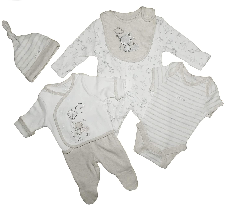 Baby Boys Layette Basics 6 PCE Set Sleepsuit Vest Bodysuit Hat Bib Mitts RRP £ 14