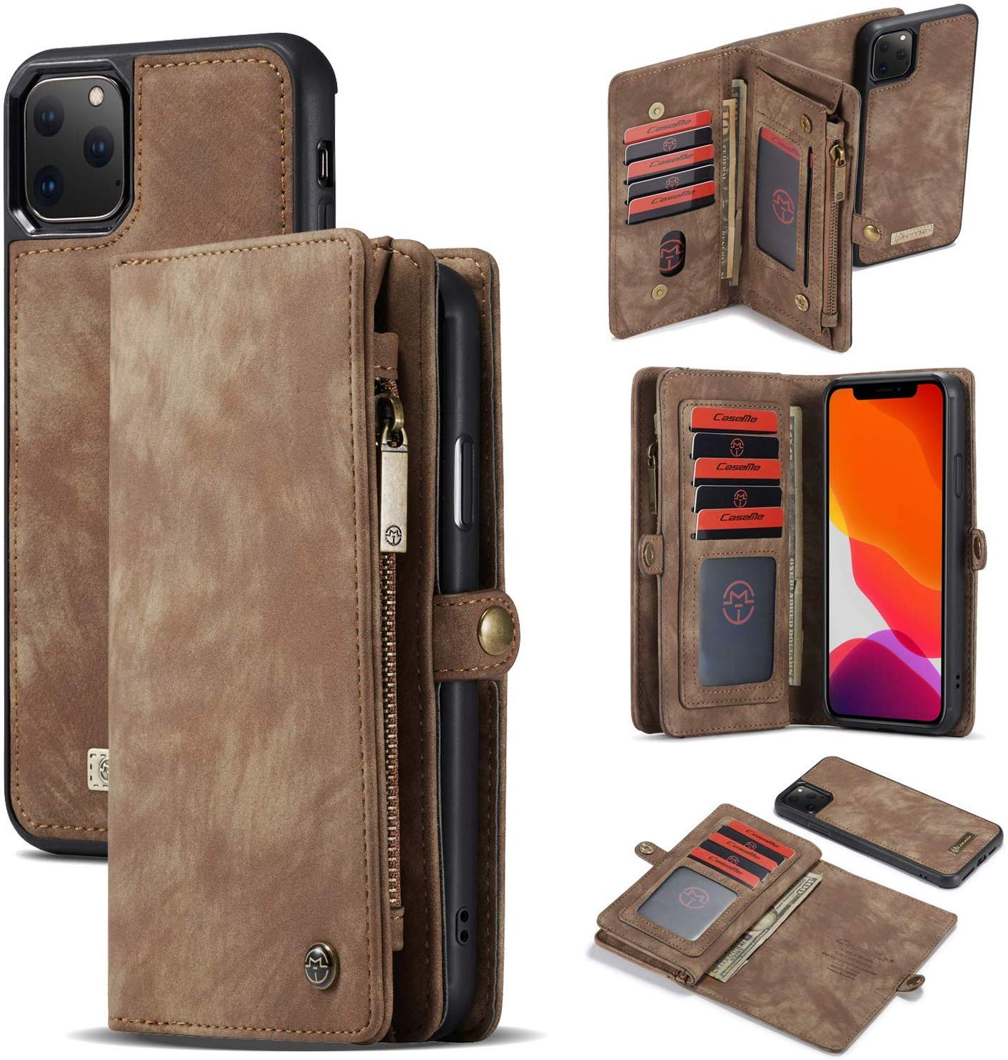 iPhone 11 Pro Case,Locase iPhone 11 Pro Wallet Purse 5.8Inch iPhone 11 Pro Flip Folio Wallet Case iPhone 11 Pro Shockproof Interior Protective Case 11 Card Holder 3 Cash Slot Magnetic Zipper Wallet by Locase