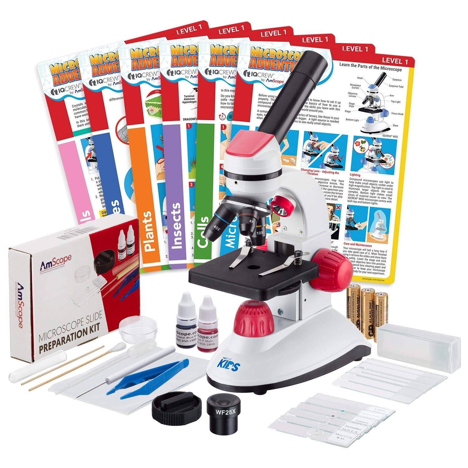 IQCrew by AmScope 40X-1000X Dual Illumination Microscope (Red) with Slide Prep Kit and Experiment Cards by iQcrew