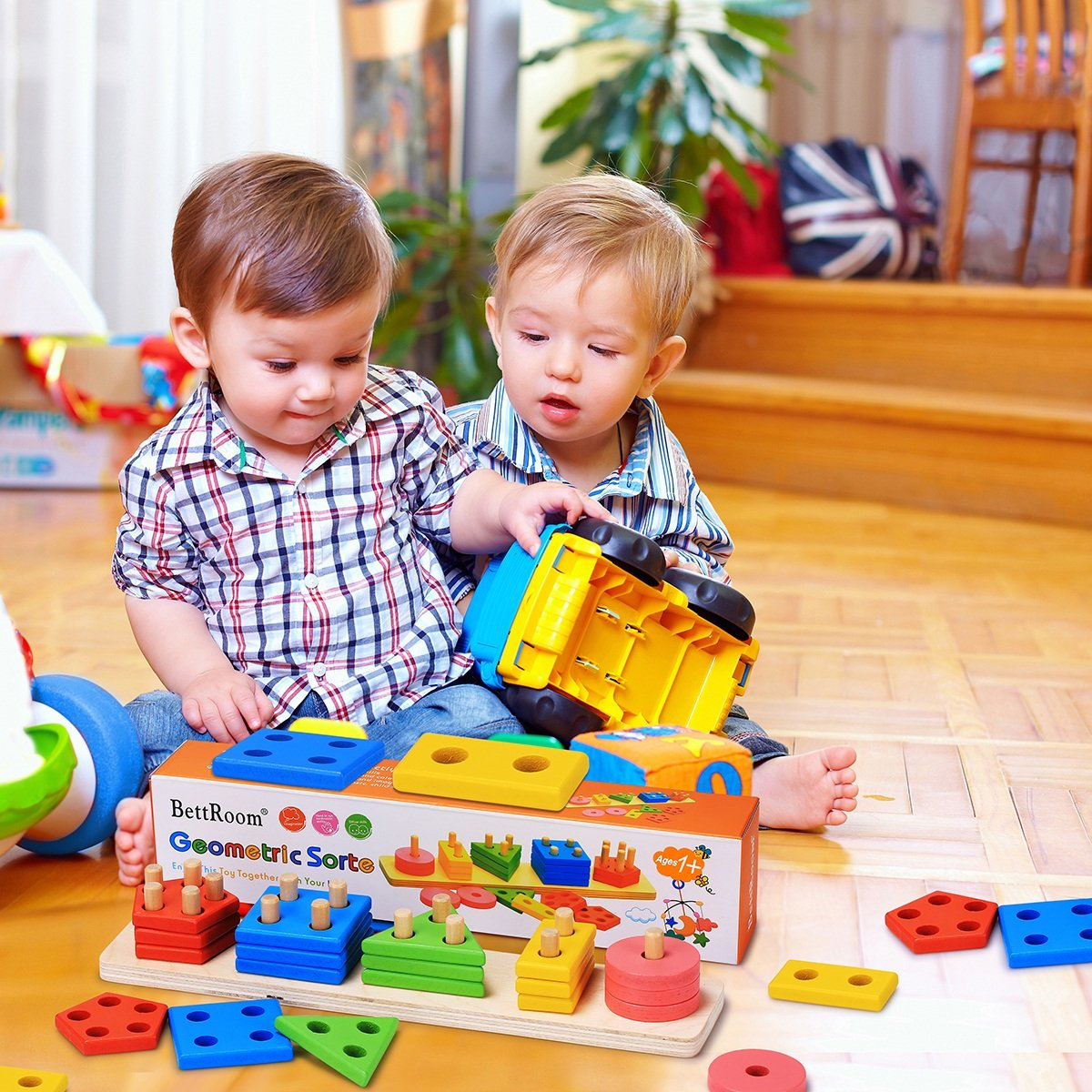 Longquan Bobi Qizhi Toys Co 14IN Ltd. BettRoom Wooden Educational Preschool Toddler Toys for 1 2 3 4-5 Year Old Boys Girls Shape Color Recognition Geometric Board Blocks Stack Sort Kids Children Non-Toxic Toy